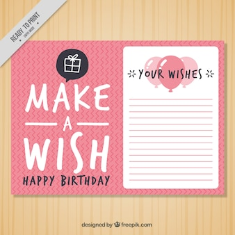 Pink birthday card with lines and balloons