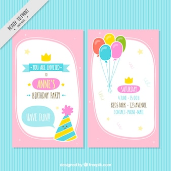 Pink birthday invitation with balloons