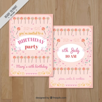 Pink bithday invitation with lollipops