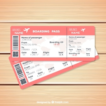 Pink boarding pass template in realistic style