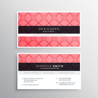 Pink business card template with shapes