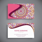 Pink business card with a mandala