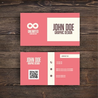 Pink business card with an infinite symbol