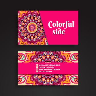 Pink business card with mandala decoration