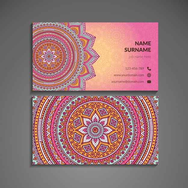 Pink business card with mandala in boho style