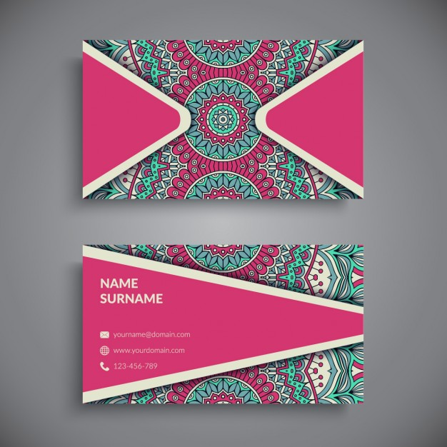 Pink business card with mandala