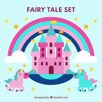 Pink castle with unicorns in flat design