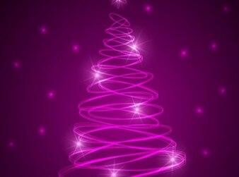 星とピンクのクリスマス輝くツリー