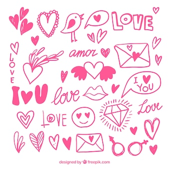 Pink collection of hand-drawn objects for valentine's day
