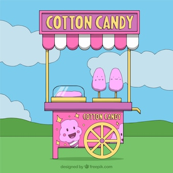 Pink cotton candy cart in the park