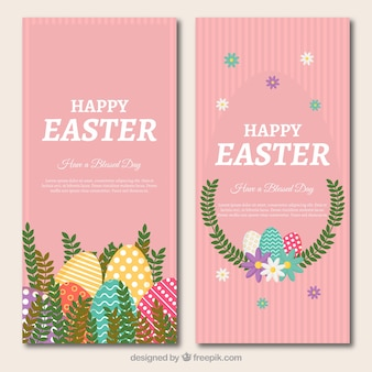 Pink easter banners with floral decoration and eggs