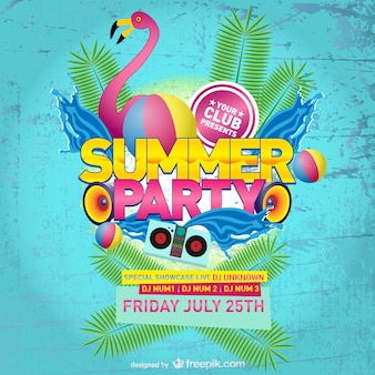 Pink flamingo summer party poster