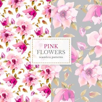 ピンクの花のシームレスなパターン