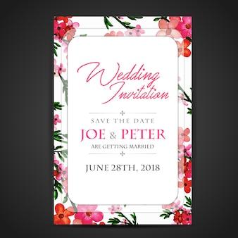 Pink Floral Wedding Invitation Card