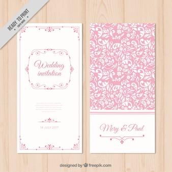 ピンクの花の結婚式の招待状