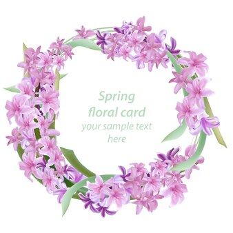 Pink floral wreath spring card