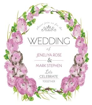 Pink florar wreath wedding invitation