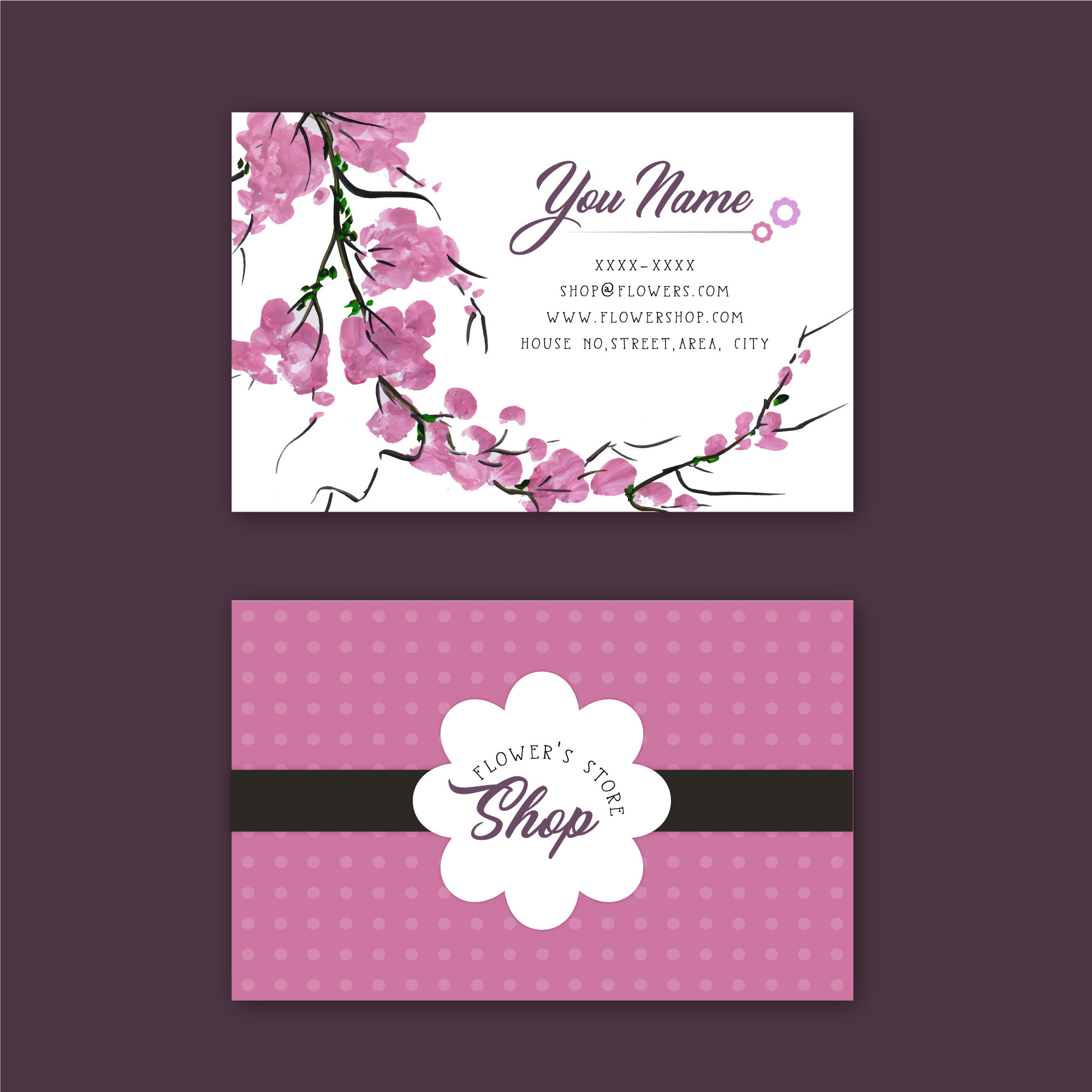 Pink flower's store business card
