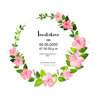 Pink flowers and green leaves decorated Invitation Card.