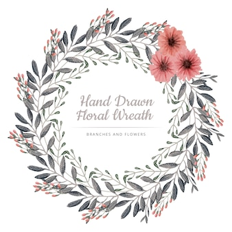 Pink flowers and grey branches wreath