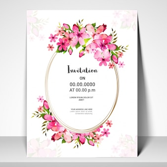 Pink flowers decorated Invitation Card design.