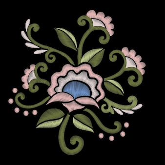Pink flowers embroidery