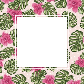 Pink flowers pattern frame