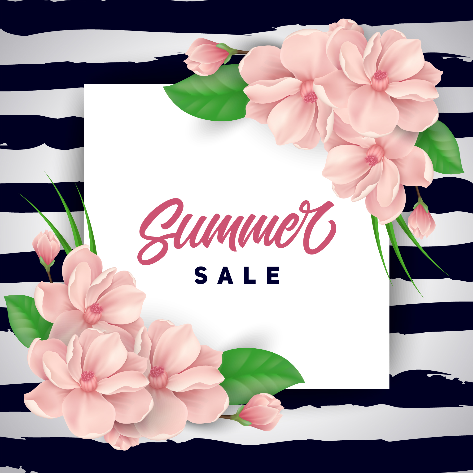 Pink flowers summer sale background