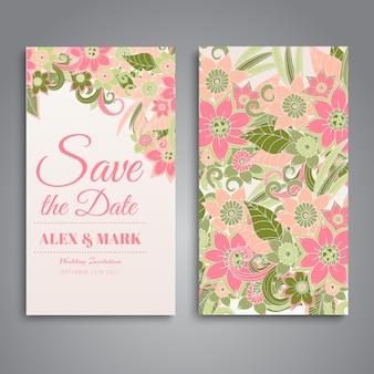 ピンクの花のウェディングカードのデザイン
