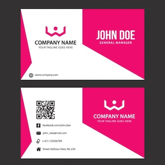 Pink geometric business card