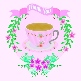 Pink greeting card with cup