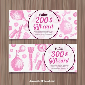 Pink hand drawn cosmetics discount banners