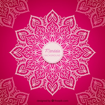 Pink hand drawn mandala background