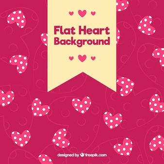 Pink hearts background with polka dots