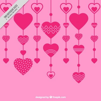 Pink hearts decoration in flat design