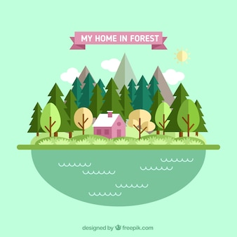 Pink house in the forest