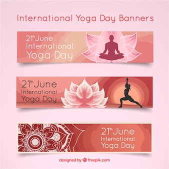 Pink international yoga day banners