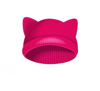 ピンクニットの帽子、猫の耳。