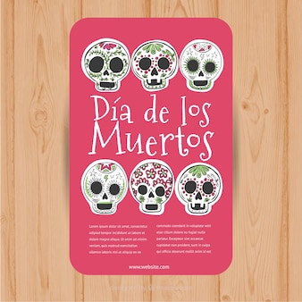 Pink leaflet with six decorative mexican skulls
