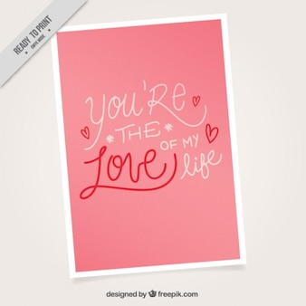 Pink love card with a cute phrase