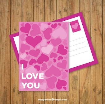 Pink love postcard with hearts