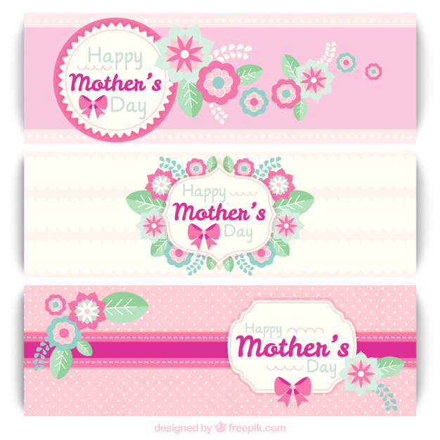 Pink mother's day banners with flowers