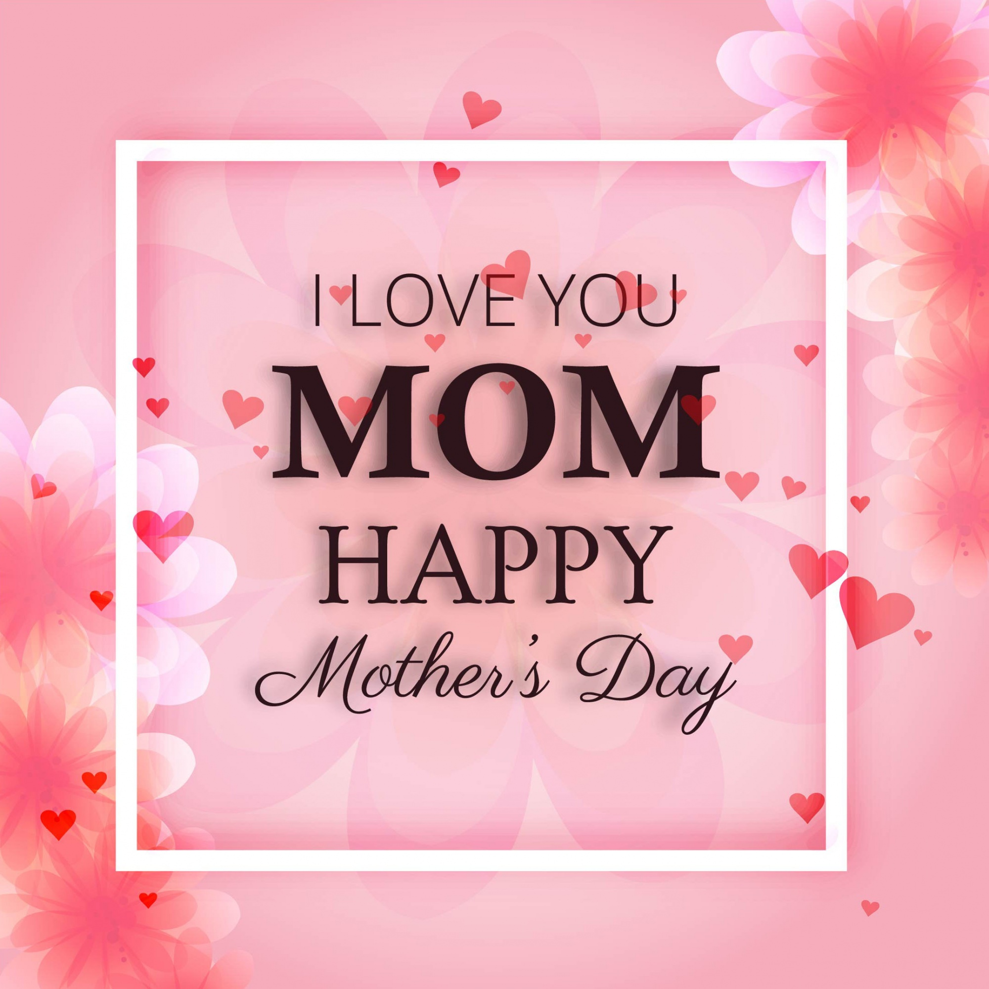 Pink mother's day design with frame