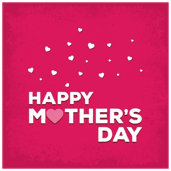 Pink mother's day lettering illustration with hearts