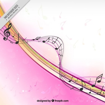 Pink musical background with stave