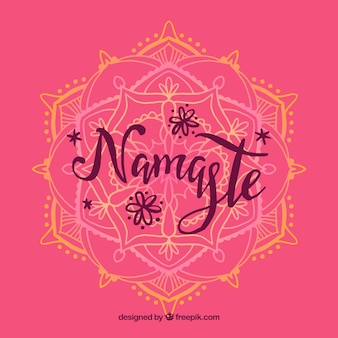 Pink namaste background with hand drawn mandala