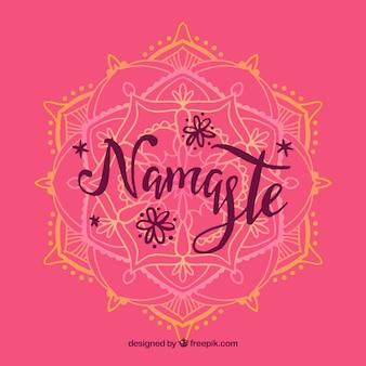 Pink namaste background with hand drawn mandala