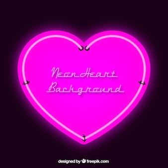 Pink neon heart background