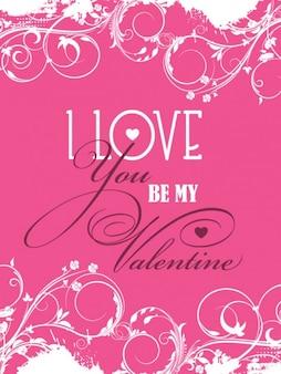 Pink ornamental card of valentine