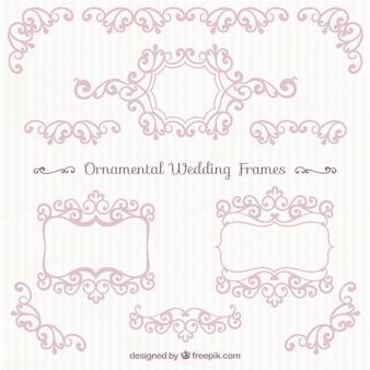 Pink ornamental wedding frames